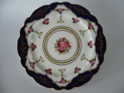 Antique George Jones  Crescent Painted Roses & Cobalt Blue Gold Plate