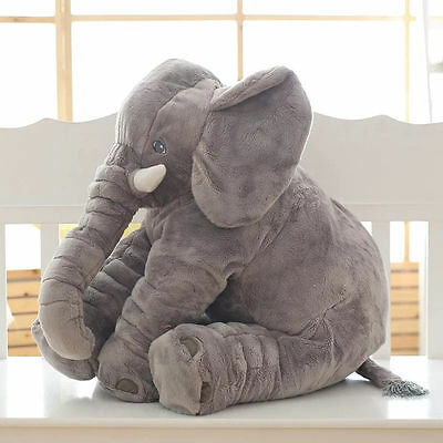 Large Elephant Sleep Pillow Soft Plush Lumbar Cushion Cartoon Kids Baby Gift Toy