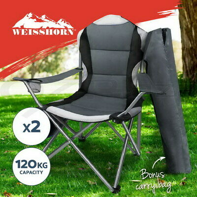 WEISSHORN 2X Folding Camping Arm Chairs Portable Outdoor Garden Fishing Picnic