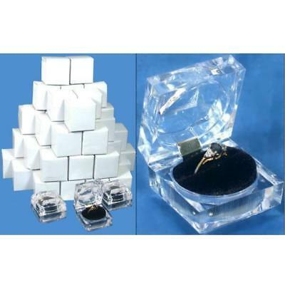 """48 Clear Crystal Ring Gift Boxes 1 7/8"""""""
