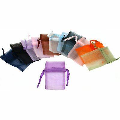"""12 Organza Jewelry Drawstring Pouches Gift Bags Assorted Colors 1 3/4"""" x 2"""""""