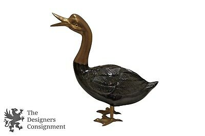 Dolbi-Cashier Black Lacquered Wooden Duck Goose Figurine Brass 1985 MCM Decoy