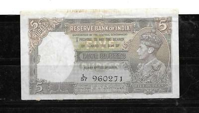 BRITISH INDIA #18b 1943 5 RUPEES FINE CIRC WWII OLD BANKNOTE PAPER MONEY NOTE