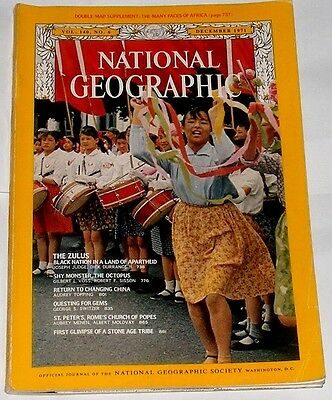 National Geographic Dec 1971 Zulu Octopus Gems St Peters Rome Philippines China