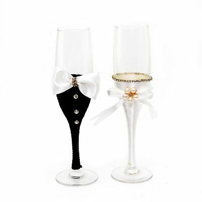 Wedding Glasses Bride & Groom Mr And Mrs Champagne Toasting Party flutes Suit