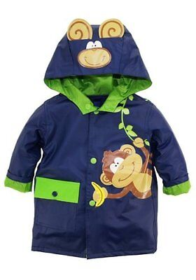 "NEW Wippette Toddler Boys' ""Monkey Business"" Rain Jacket - Navy - Size:3T"