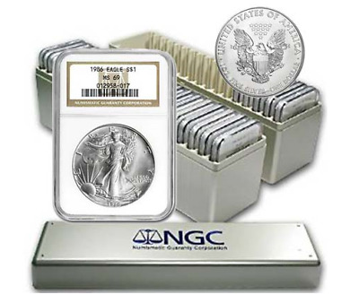 1986 - 2019 Complete 34 Coin American Silver Eagle Set Ngc Ms 69