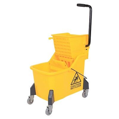 HomCom 11 Gallon Janitor Mop Bucket w/ Side Press Wringer - Yellow