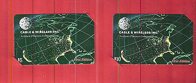 TK Telephonkarte/PhoneCard C&W $5 & $10 First Edition Map w/City Lights Set of 2