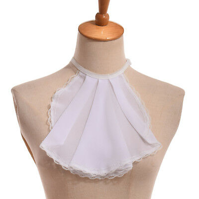 1pc Victorian Unisex Jabot Pleated Collar Lolita Chiffon Lace Neckwear 3 Colors