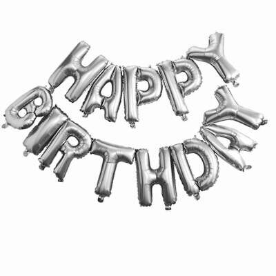 """16"""" Silver Air Self Inflatable Happy Birthday Balloons Party Banner Decorations"""