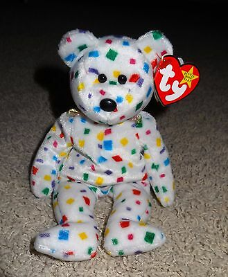 TY Beanie Baby TY 2K White Bear Multi Colored Confetti Jan 1, 2000 Tags Mint TH