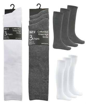 Older Girls Knee High Socks School Socks Grey White Black Cotton Rich 3 Pack