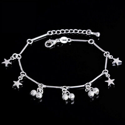Pull Chain Bracelet Adjustable Thin CZ Cubic Zirconia STAR Silver Plated Chain