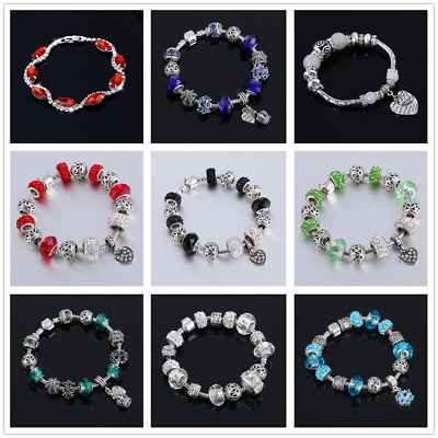 European 925 silver Charms Bracelet With Colorful Flower Beads For Women Jewelry
