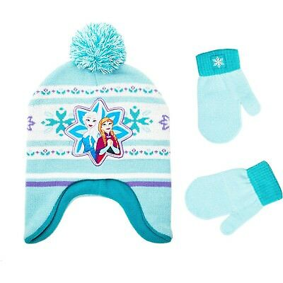 DISNEY FROZEN ANNA &ELSA Knit Fleece-Lined Peruvian Winter Hat & Mittens Set $22