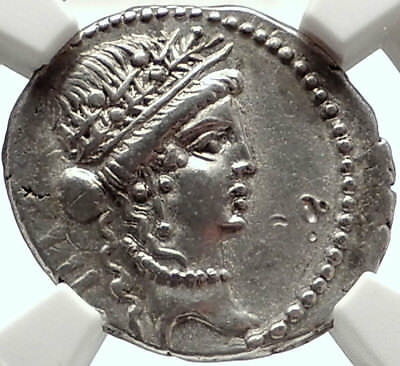 JULIUS CAESAR vs Vercingetorix TROPHY Ancient Silver 48BC Roman Coin NGC i68286
