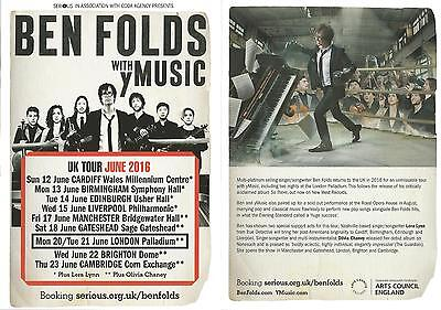 Ben Folds with yMusic  Live UK Concert Tour Palladium June 2016  Promo Flyer x 3