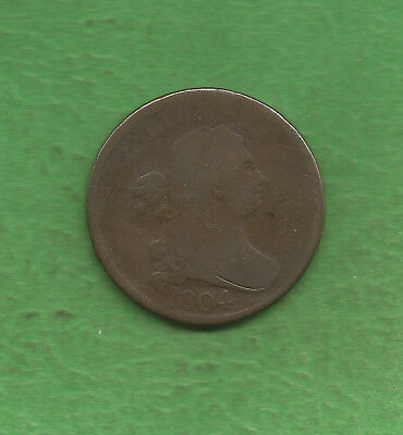 1804 Draped Bust, Half Cent, Only 1,055,312 Minted, Crosslet '4'!!