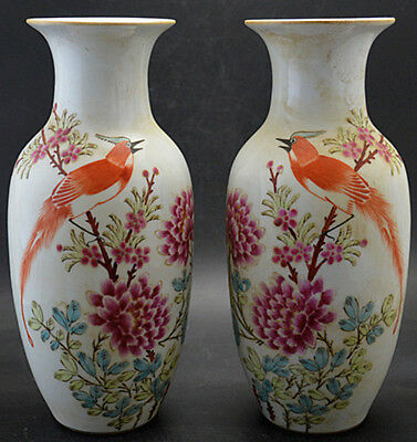 JR A pair of Porcelain vase painted birds flowers peony in spring landscape