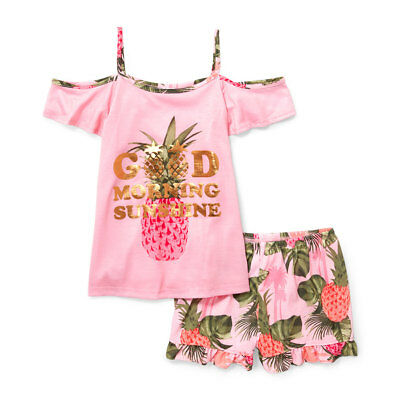 The Children's Place Girls Cold-Shoulder Pineapple Pajamas Set Size 10/12