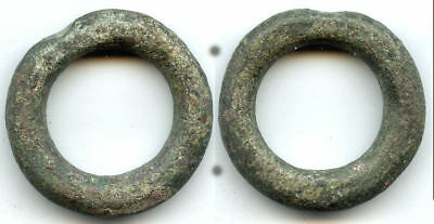 Huge & thick (44mm, 63.7g.) bronze Ancient Celtic ring money, 800-500 BC, Europe