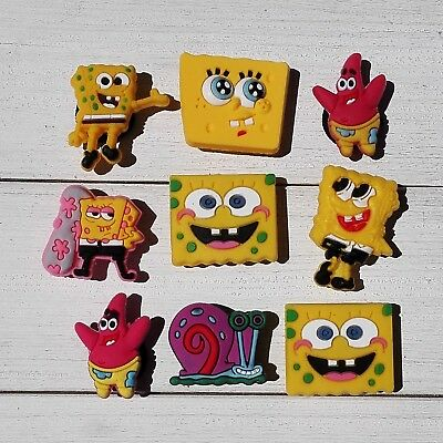 9pcs/lot SpongeBob PVC Shoe Charms for Croc & Jibbitz Bands Bracelets Xmas Gift