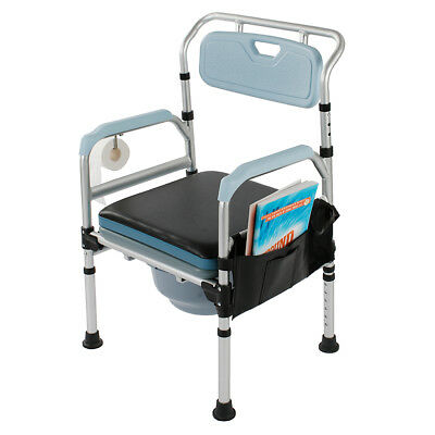 3-in-1 Commode Chair Toilet Seat Medical Bedside Chair Bathroom Chair with Cap