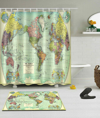 World map bathroom mat waterproof polyester fabric shower curtain 12 retro world map bathroom decor waterproof fabric shower curtain hooks mat set gumiabroncs Image collections