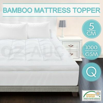 Queen Size Mattress Topper 5cm Thick 1000gsm Healthy Microfibre Bamboo Fibre Top