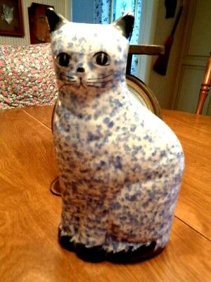"""Kitty  Bank  Ceramic   9""""  Tall   Blue And White       (59)"""