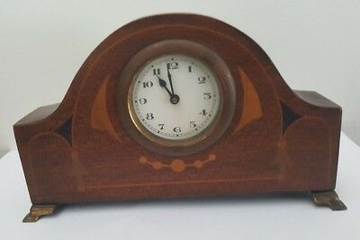 Antique Inlaid and Footed Wooden Mantel or Desk Clock, good working order