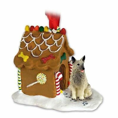 Norwegian Elkhound Dog Ginger Bread House Christmas ORNAMENT
