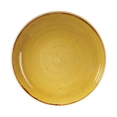 Churchill Stonecast Round Coupe Bowl Mustard Seed Yellow 248mm (Pack of 12) BARG