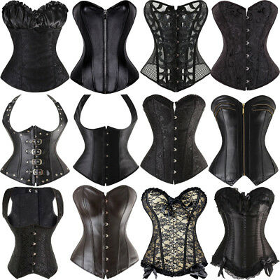 UK Womens Steampunk 6XL Gothic Overbust Corset Top Lace up Corsets Bustiers HG