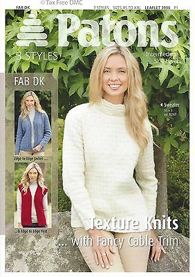 21b615c3d VAT Free Knitting PATTERN ONLY Patons Ladies Texture Knits Jacket Vest 3936  New