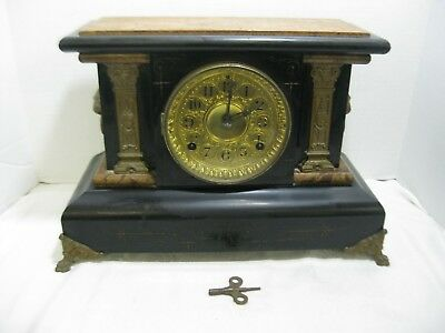 ANTIQUE 1880 Seth Thomas #102 Adamantine Mantle Clock with Key