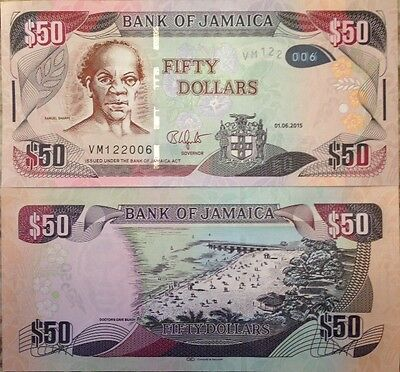Jamaica 2015 50 Dollars Uncirculated Banknote P-New Buy From A Usa Seller !!