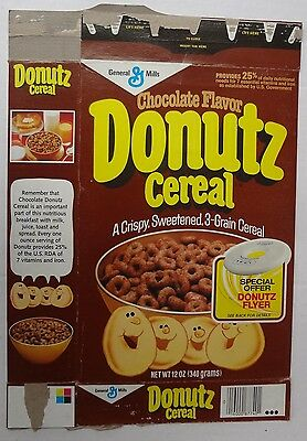 1982 Chocolate Donutz Cereal Box General Mills flyer disc offer