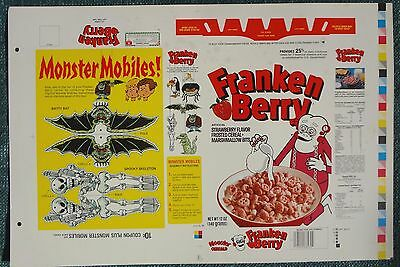1982 White Frankenberry Cereal Box Printers Proof Flat Monster Mobile series 83