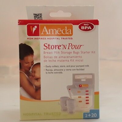Ameda Store 'N Pour Breast Milk Storage Bags STARTER KIT 20 bags 2 adapters NEW