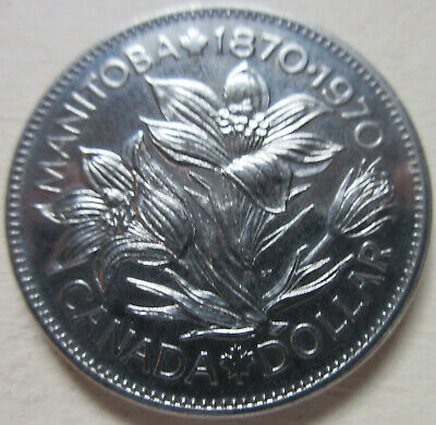 1970 Canada Manitoba Commemorative Nickel Dollar Coin. UNC $ 1