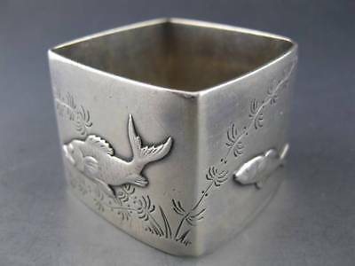 RARE Sterling TIFFANY & CO Napkin Ring w/ applied silver Fish & seaweed