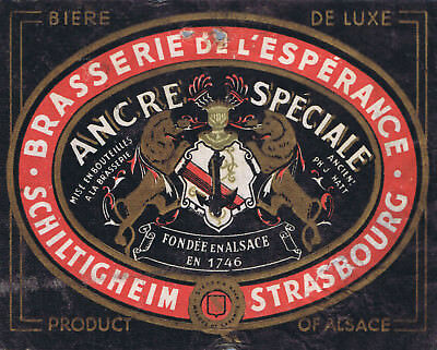 very old beer bottle label Ancre Speciale Schiltighrim Strasbourg Brasserie 2347