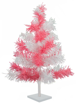 18'' Pink & White Tinsel Tree Christmas Easter Holiday Tree 1.5' Table-Top Decor