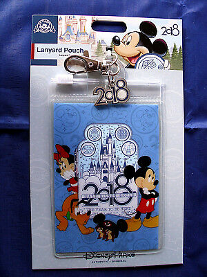 Disney* 2018 MICKEY & FRIENDS * Pin Trading Lanyard Clip Fast Pass Pouch & Charm