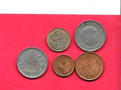 Spain Spanish 5 Diff Different 1957-2000 Coin Lot Collection Set Inc Old