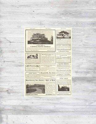 Antique 1912 NJ New Jersey Atlantic City Morristown + Home Sale Real Estate Ad