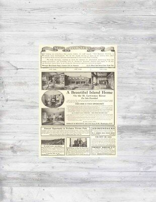 Antique 1912 New York ISLAND HOME St. Lawrence River + Home Sale Real Estate Ads