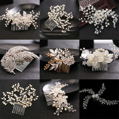 Wedding Bridal Pearl Flower Crystal Hair Pins Clips Bridesmaid Side Comb Jewelry